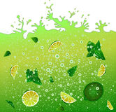 Carbonated cocktail mojito. Advertising banner .Green drink background. Splashes. Stock Images