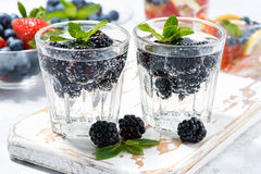 Carbonated drinks with berries, closeup. Horizontal Royalty Free Stock Photo