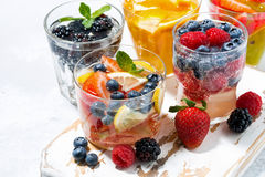 Carbonated drinks with berries and fruits, closeup Royalty Free Stock Photography