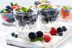 Carbonated drinks with fresh berries. Closeup Stock Images