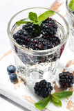 Carbonated drinks with fresh berries, vertical closeup Royalty Free Stock Photography