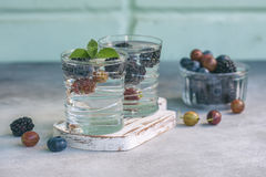 Carbonated drinks in glass with fresh berries. Selective focus Royalty Free Stock Photo