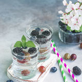 Carbonated drinks in glass with fresh berries. Royalty Free Stock Photo