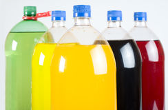 Carbonated drinks in plastic bottles Royalty Free Stock Photo