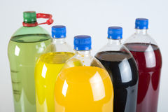 Carbonated drinks in plastic bottles Stock Image
