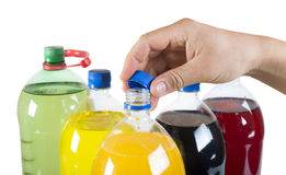 Carbonated drinks in plastic bottles Royalty Free Stock Photos
