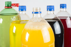 Carbonated drinks in plastic bottles Stock Images