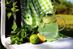 Carbonated lemonade in the pitcher Stock Images