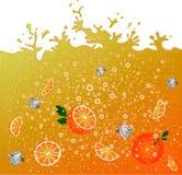 Carbonated pomarańczowy napój Tło banner reklamy sok Pomarańczowy cytrusa koktajl pluśnięcia Obrazy Royalty Free