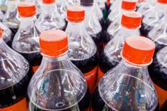 Carbonated soft drink bottles. Close up Stock Photography