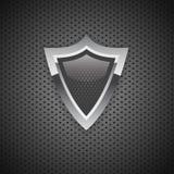 carbone bouclier de protection de sécurité d'Internet de l'icône 3D Images libres de droits