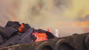 Carbone bruciante del fest dell'alimento della via che brucia senza fiamma nell'addetto alla brasatura Cucina tradizionale, bbq video d archivio