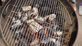 Carbone caldo d'ardore nella griglia Pit With Flames, primo piano del BBQ I carboni brucianti si chiudono su immagine stock