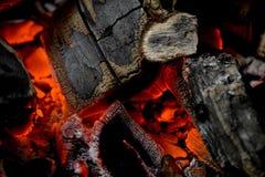 Carbone d'ardore Fotografie Stock