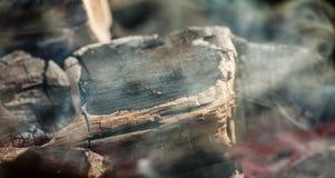 Carbone d'ardore con molto fumo Immagine Stock Libera da Diritti