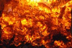 Carbone di legna Burning Immagini Stock