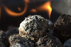 Carbone e fuoco Fotografie Stock
