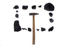 Carbone isolato del martello, pepite del carbonio Immagine Stock Libera da Diritti