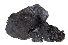 Carbone isolato, pepite del carbonio Immagini Stock