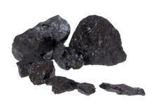 Carbone isolato, pepite del carbonio Immagini Stock Libere da Diritti