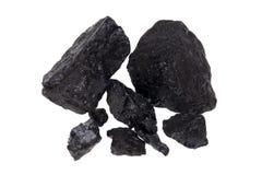 Carbone isolato, pepite del carbonio Fotografie Stock