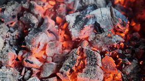 carbone meravigliosamente di fuoco senza fiamma nel camino stock footage