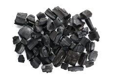 Carbone naturale del legno duro Isolato su priorit? bassa bianca fotografia stock libera da diritti