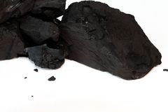 Carbone Sotto-bituminoso isolato su bianco Fotografia Stock Libera da Diritti