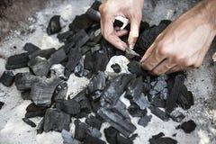 Carbone in una griglia Fotografia Stock Libera da Diritti