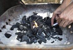 Carbone in una griglia Immagini Stock Libere da Diritti