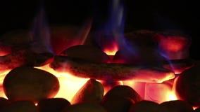 Carbones de gas de la llama del fuego almacen de metraje de vídeo