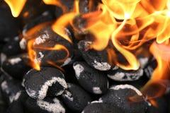 Carbones de leña fotografía de archivo