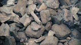 Carbones del fuego, carbón de leña ardiente como fondo almacen de metraje de vídeo