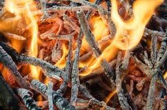 Carboni caldi dal legno bruciato Immagine Stock Libera da Diritti
