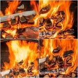 Carboni caldi nel collage del fuoco Insieme delle fiamme Fotografia Stock Libera da Diritti