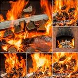Carboni caldi nel collage del fuoco Insieme delle fiamme Fotografie Stock