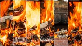 Carboni caldi nel collage del fuoco Insieme delle fiamme Fotografia Stock