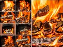 Carboni caldi nel collage del fuoco Insieme delle fiamme Immagine Stock Libera da Diritti