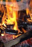Carboni rossi in tensione e legno burning Immagini Stock Libere da Diritti