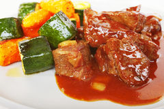 Carbonnade of Beef Stew Carrots Courgettes Stock Image