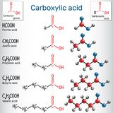 Carboxylic acids formic, acetic, propionic, butyric, valeric. Homologous series of straight-chain, saturated carboxylic acids. Structural chemical formula and Royalty Free Stock Photography