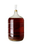 Carboy of Fermenting Homebrew Beer. A clear glass carboy used for secondary fermentation of homebrew beer Stock Photos