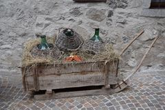 Carboy in old town village Rango Trentino, selection one of the most beautiful village in italy. Stock Photo