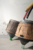 Carboys which serve to hold the wine during aging Royalty Free Stock Images