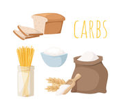 Carbs food vector illustration. Stock Images