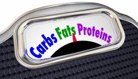 CarbsFats Proteins Words Scale Eat Smart allsidig kost Fotografering för Bildbyråer