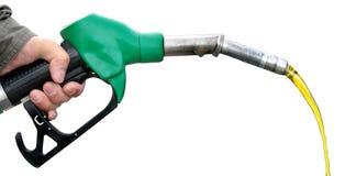 Carburant de pompage sur le fond blanc Photos stock