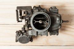 Carburetor. Closeup details of old and dirty carburetor Stock Photo