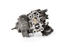 Carburetor. Closeup details of old and dirty carburetor Royalty Free Stock Photography