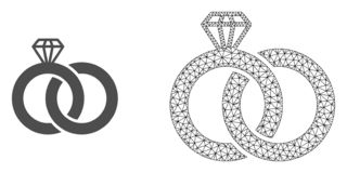Carcaça Mesh Diamond Wedding Rings do vetor e ícone liso ilustração stock